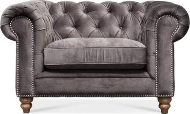 CHESTER Sofa/Einsitzer, 134x97/76 cm, Samt anthrazit