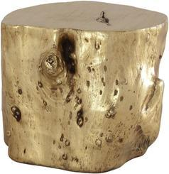 WOOD Hocker, 43/43 cm, gold leaf