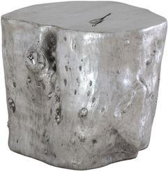 WOOD Hocker, 43/43 cm, silver leaf