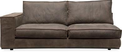 PUZZLE Sofa-Element links, 186x106/83 cm, Nubukleder schiefer, invertierte Naht
