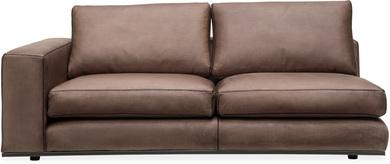 PUZZLE Sofa-Element links, 186x106/83 cm, Wachsleder taupe, Baseball-Naht