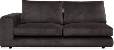 PUZZLE Sofa-Element links, 186x106/83 cm, Samt anthrazit, Standard-Naht