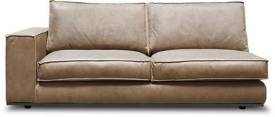 PUZZLE Sofa-Element links, 186x106/83 cm, Nubukleder ton, invertierte Naht