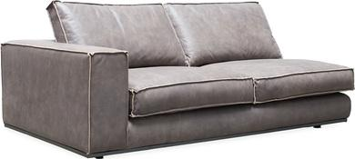 PUZZLE Sofa-Element links, 186x106/83 cm, Nubukleder taupe, invertierte Naht