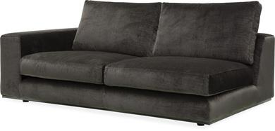 PUZZLE Sofa-Element links, 186x106/83 cm, Samt graphit, Standard-Naht