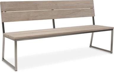 TIMBER Bank 220x61,2x90 cm, Teak vintage-grau