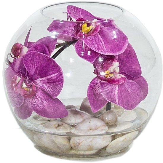 NATURAL ILLUSION Glasvase, 20/20 cm, Orchidee pink, helle Steine L: 20 , B: 20 , H: 20 | Orchidee pink