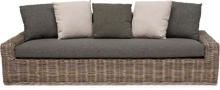 KEY LARGO Rattan Sofa, 230x69/89cm, Kubu Rattan Natural M. Kissen