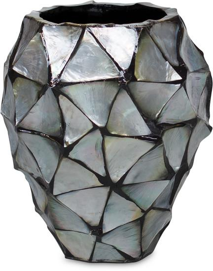 SHELL orchid planter, 17/24 cm, silver-blue, mother of pearl