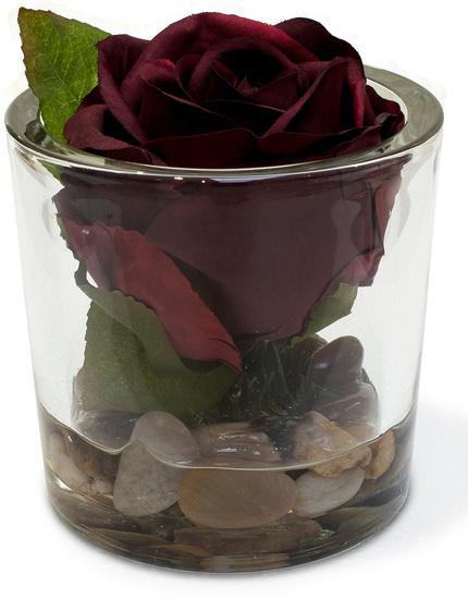 NATURAL ILLUSION glass vase, 10/10 cm, rose red, stones