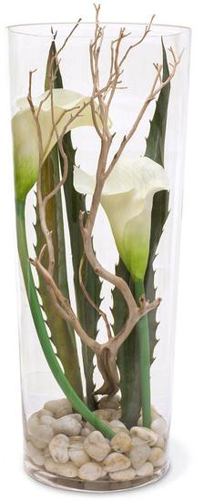 NATURAL ILLUSION Glasvase, 25/75 cm, Calla Lilie, helle Steine