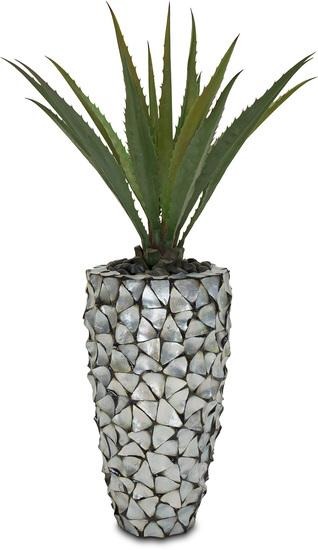 SETS BUSINESS, MUSCHEL 40/77 cm Perlmutt silber-blau, AGAVE DELUXE 95 cm