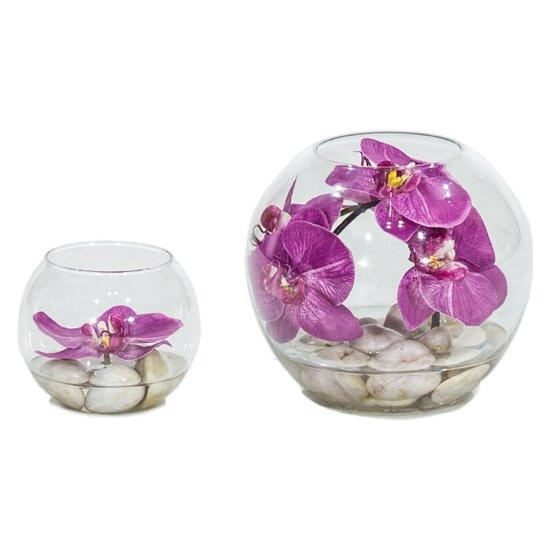 NATURAL ILLUSION Glasvase, Orchidee pink, helle Steine