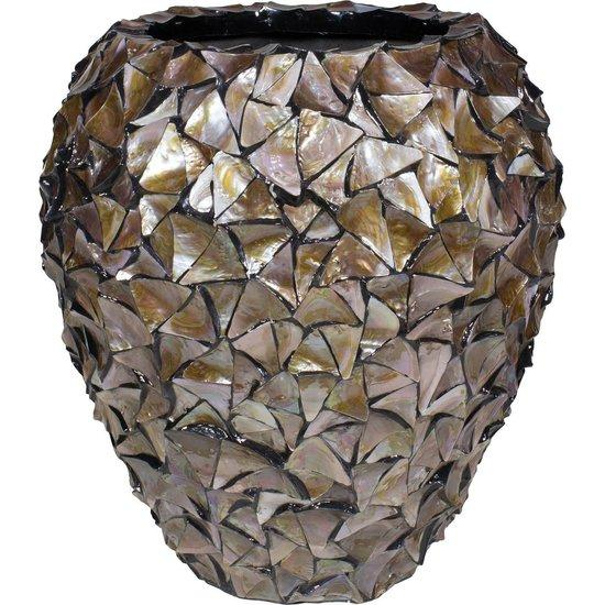 SHELL planter, 74/80 cm, brown mother of pearl
