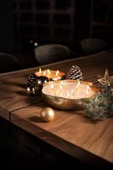 CANDLE BOWL in metallo set di 3, oro