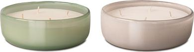 CANDLE BOWL 14/5 cm, 2 ass. Finitura in cemento grigio/verde